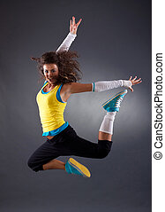hip hop dancer jumping - beautiful young hip hop dancer...