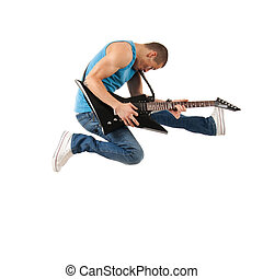 guitarist jumps in the air - passionate guitarist jumps in...