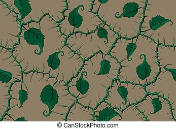 branches and leaves seamless pattern