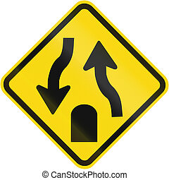 Divided highway ends sign used in Brazil