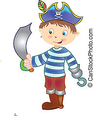 pirate standing with sword - a illustration of a pirate...