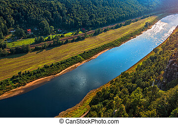Elbe river summer season view