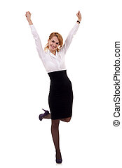 joyous business woman celebrating - Pretty joyous business...