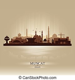 Muscat Oman city skyline vector silhouette illustration