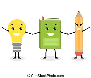 Education icons. Book, pencil and light bulbs smiling and...