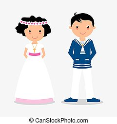 Boy and girl in communion suit
