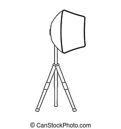 Lighting device on a tripod.Making movie single icon in outline style raster, bitmap symbol stock illustration web.