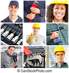 Workers - Set of smiling workers and tools