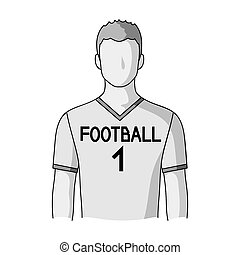 Footballer.Professions single icon in monochrome style...