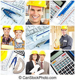 Workers contractors - Workers, contractors, pencil and...