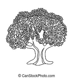 Olive Tree.Olives single icon in outline style raster,...