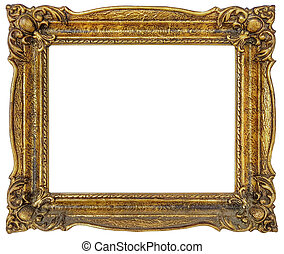 Golden Frame Cutout - Old Empty Golden Frame Isolated with...
