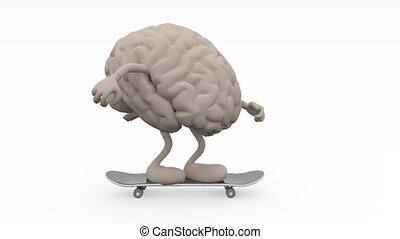 Human brain with arms and legs on skateboard, 3d animation