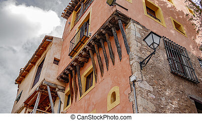 Traditional houses in Cuenca - Bottom view of traditional...