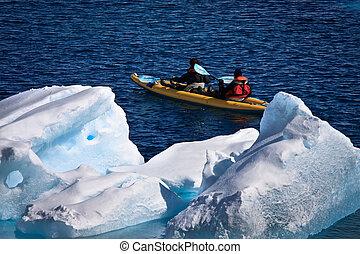 Two men in a canoe