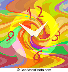 Abstract clock on liquid colorful background