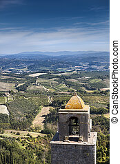 Bell tower - Old tall bell tower in italy, view from above