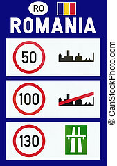 Information on speed limits in Romania at border crossing.
