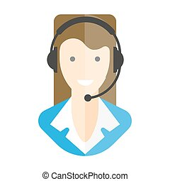 Woman-operator in headphones with microphone isolated portrait