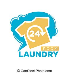 24 Hours laundry room promotional logotype with T-shirt - 24...