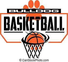 bulldog basketball team design with paw print and backboard...