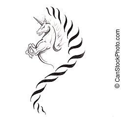tatouage, croquis, Cheval,  art, licorne
