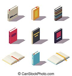 Isometric low poly books
