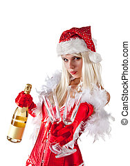 Attractive Mrs Santa with champagne, isolated on white...