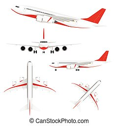 airplane set with red illustration