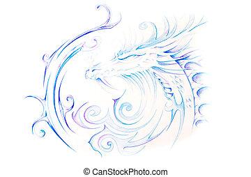Esboço, tatuagem, arte, coloridos, dragão