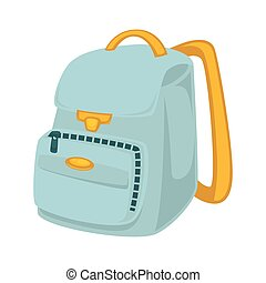 Light blue backpack with yellow slings isolated...