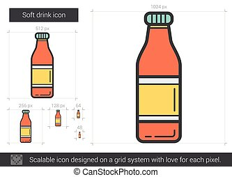 Soft drink line icon. - Soft drink vector line icon isolated...