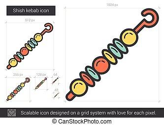 Shish kebab line icon. - Shish kebab vector line icon...