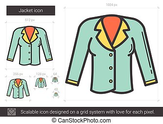 Jacket line icon. - Jacket vector line icon isolated on...