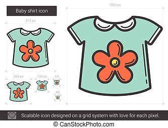 Baby shirt line icon. - Baby shirt vector line icon isolated...