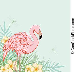 Pink flamingo and flowers - Tropical green background with...