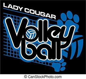 lady cougar volleyball design with paw prints and net for...