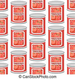 Tomato paste seamless pattern. Cans texture. Iron pot with tomatoes