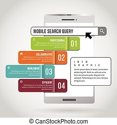 Mobile Search Query Infographic - Vector illustration of...