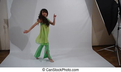 Girl dancing folk dance - A girl of Yakut nationality dances...