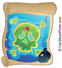 Old parchment with pirate map - vector illustration