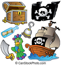 Pirate collection with wooden ship - vector illustration