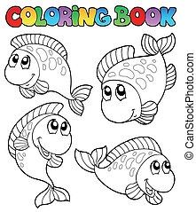 Coloring book with four fishes - vector illustration