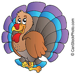 Happy cartoon turkey - vector illustration