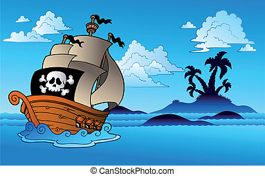 Pirate ship with island silhouette - vector illustration