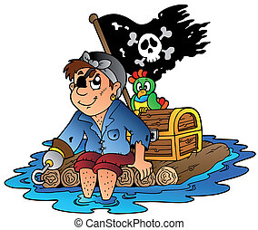 Cartoon pirate sailing on raft - vector illustration