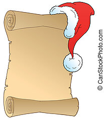 Scroll with Christmas hat - vector illustration.