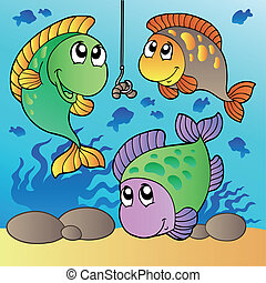 Three fishes and fishing hook - vector illustration