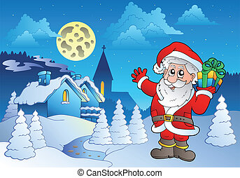 Santa Claus near small village 1 - vector illustration