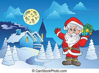 Santa Claus near small village 1